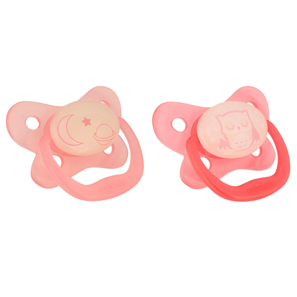 Dr Brown's Glows in the Dark Pacifier 2pk 6-12m Pink