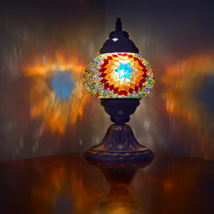 lighting | table lamp | ottoman beside lamp | colorful night lamp