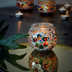 Multicolored stained glass candle holder