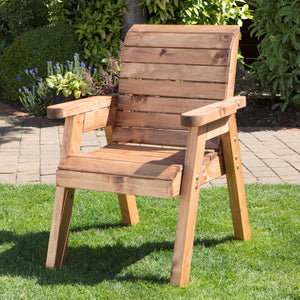 Hand Made Traditional Chunky Rustic Wooden Garden Chair Furniture