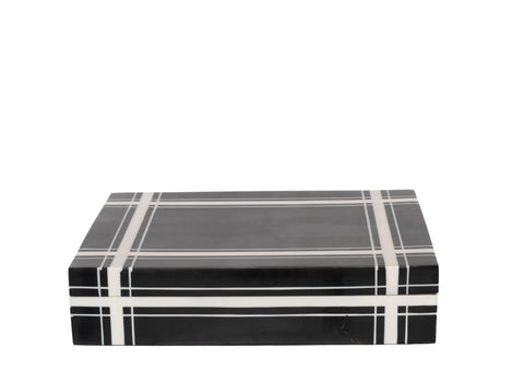 Black Cross Hatch Plaid Bone Box, LG