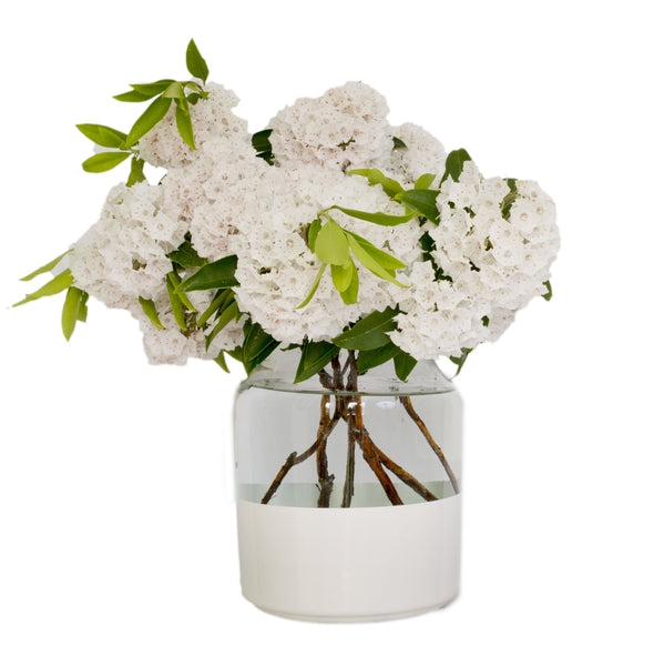 White Color Block Mason Jar Vase, Small