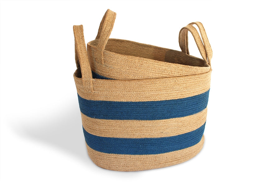 Oval Blue Striped Baskets, Set of 2