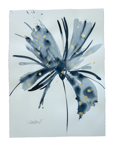 Watercolor abstract floral original art 17