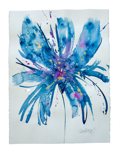 Watercolor abstract floral original art 23