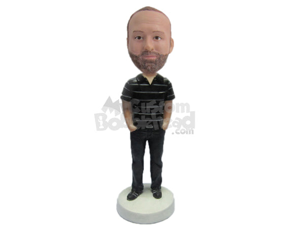 Custom Bobblehead Bearded Dude In Polo With Hands In His Pocket - Leisure & Casual Casual Males Personalized Bobblehead & Cake Topper