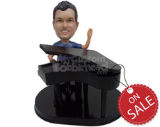 Custom Bobblehead Pianist Weaving Hello While Playing The Piano - Musicians & Arts Percussion Instruments Personalized Bobblehead & Cake Topper