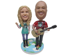 Custom Bobblehead Guitarist Duo Entertaining The Audience - Musicians & Arts Strings Instruments Personalized Bobblehead & Cake Topper