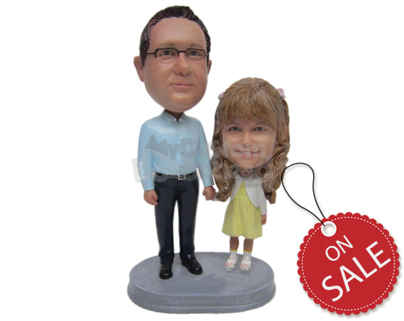 Custom Bobblehead Father And Daughter Posing For A Picture - Parents & Kids Dad & Kids Personalized Bobblehead & Cake Topper