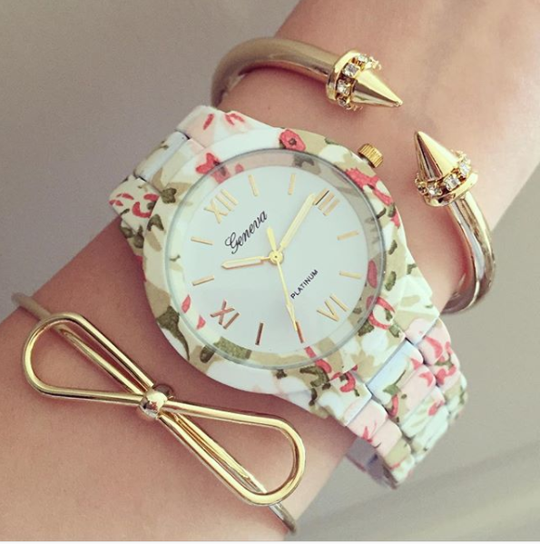 Floral August Metal Watch