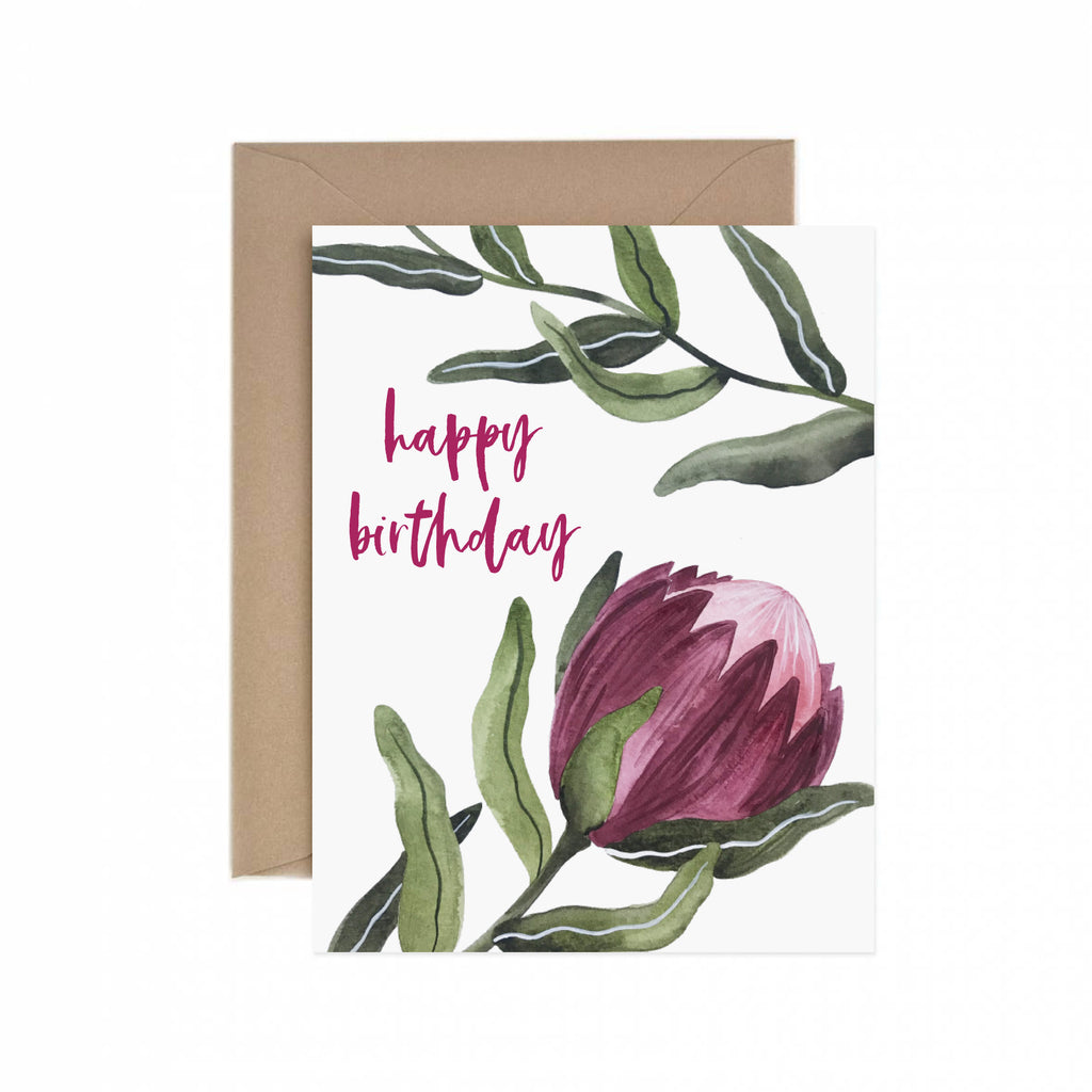 Protea Happy Birthday Greeting Card