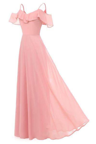 flounced-long-pink-bridesmaid-dresses-with-spaghetti-straps