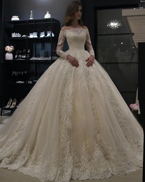 long-sleeves-lace-wedding-dress-ball-gown-off-the-shoulder-2