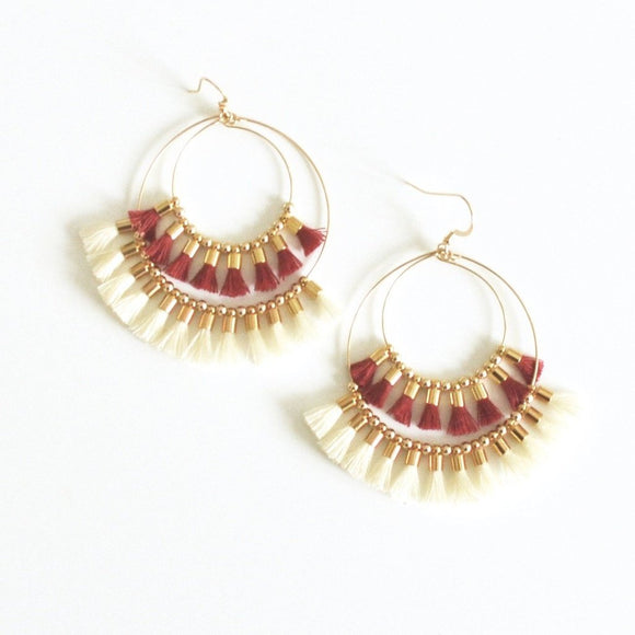 Red and White Double Tassel Earrings