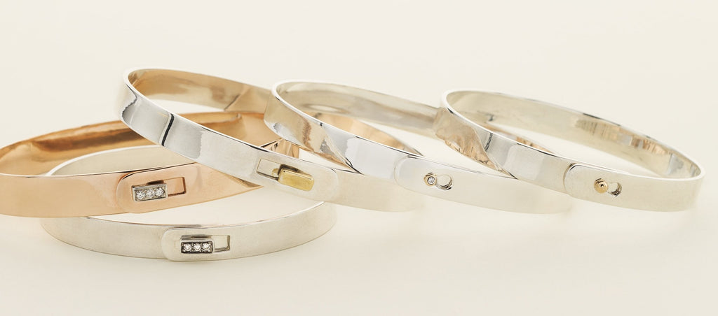 CLICK BRACELET - silver with 18 karat gold square lock