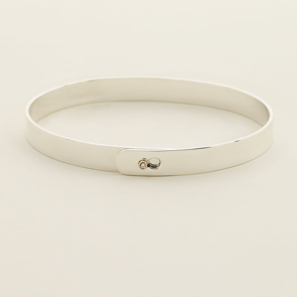 CLICK BRACELET - silver with diamond ball lock