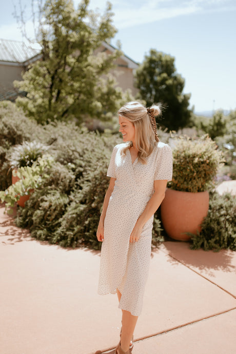 Carmel Dotted Cream Dress