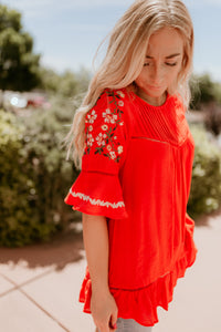 Tuscany Red Embroidered Top