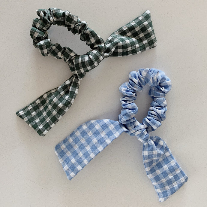 Seattle Scrunchie Collection: Gingham Bow in Light Blue