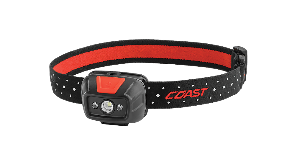COAST FL19 330 Lumen Dual Color LED Headlamp with Reflective Safety Strap, front photo