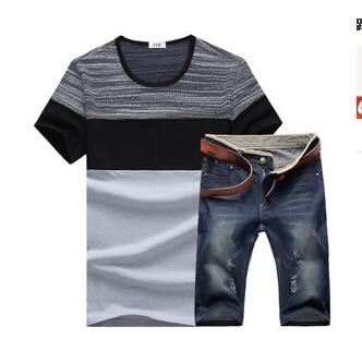 Mens  summer Outfit | Tshirt with denim shorts | 2 Piece Set | Grey | - Raw Apparel uk - l - Raw-Apparel-uk Mens Clothing and apparel - New 2018 Fashion Trends and Styles,  Free Shipping, #uk, Mens clothing & apparel, T Shirts , Summer sale, #Streetfashion