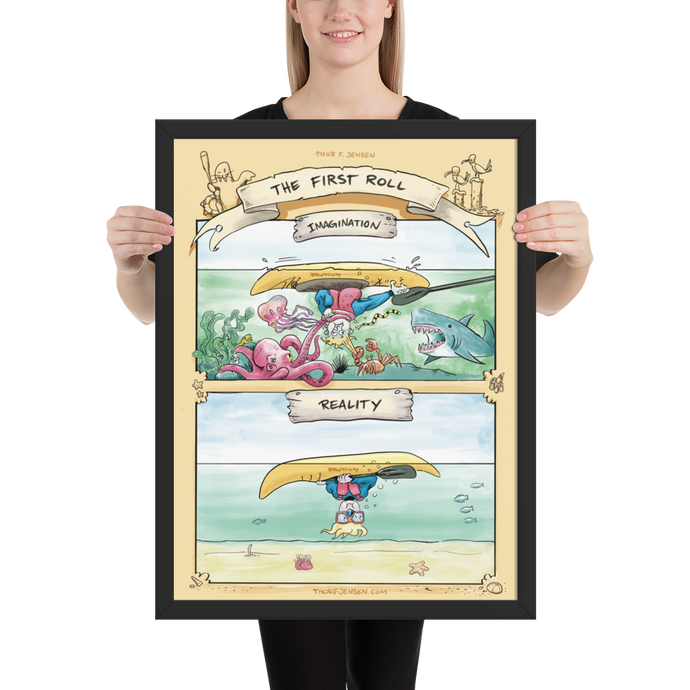 Framed Kayak Poster –The First Roll 18x24 inch