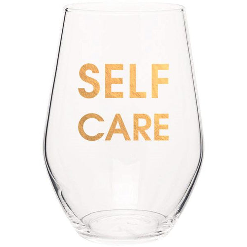 Self Care - Gold Foil Stemless Wine Glass