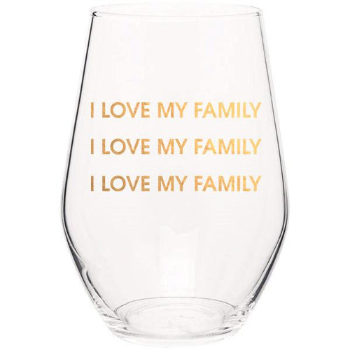 I Love My Family I Love My Family - Gold Foil Stemless Wine Glass