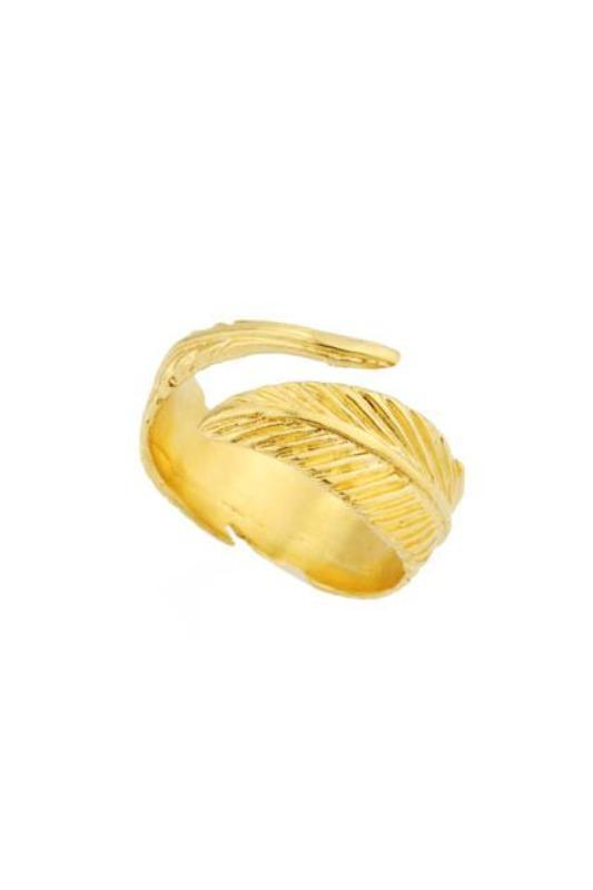 Up close image of the gold Feather Ring against a white background.