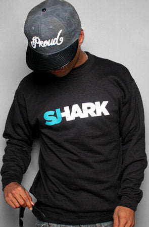 Breezy Excursion X Adapt :: Shark (Men's Black Crewneck Sweatshirt)