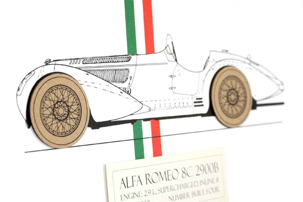 Alfa Romeo 8C blueprint art