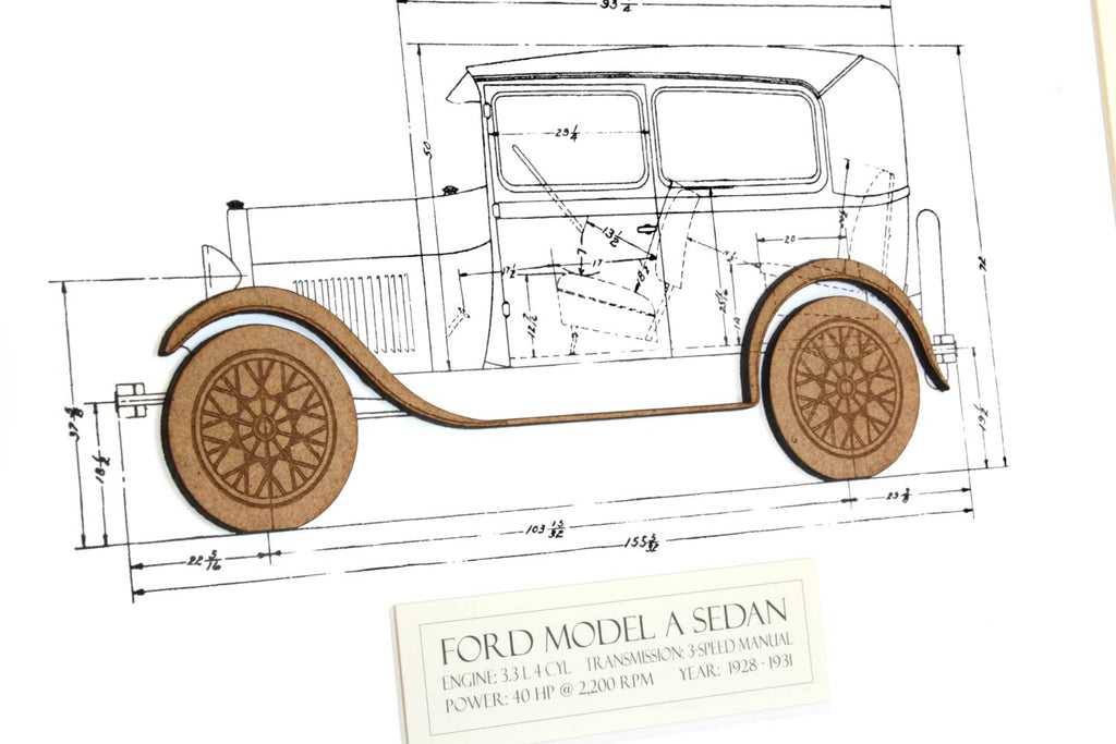 Ford Model A Sedan blueprint art