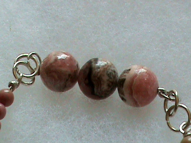 Rare Rhodochrosite Beaded Bracelets with Hill Tribe Fine Silver Handmade beads