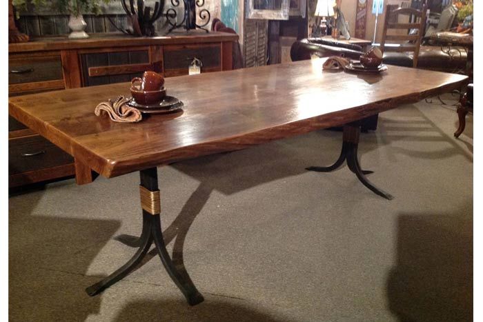 Free Form Dining Table With Iron Base