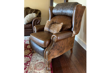 Alejandra Croc and Cowhide Push Back Recliner