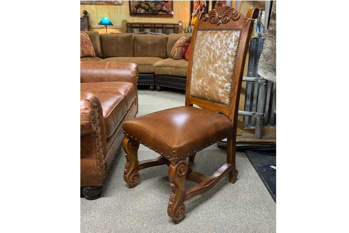 Rosewood Cowhide Dining Chair
