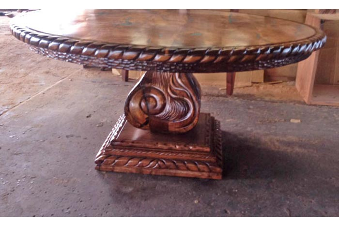 Carved Mesquite Dining Table