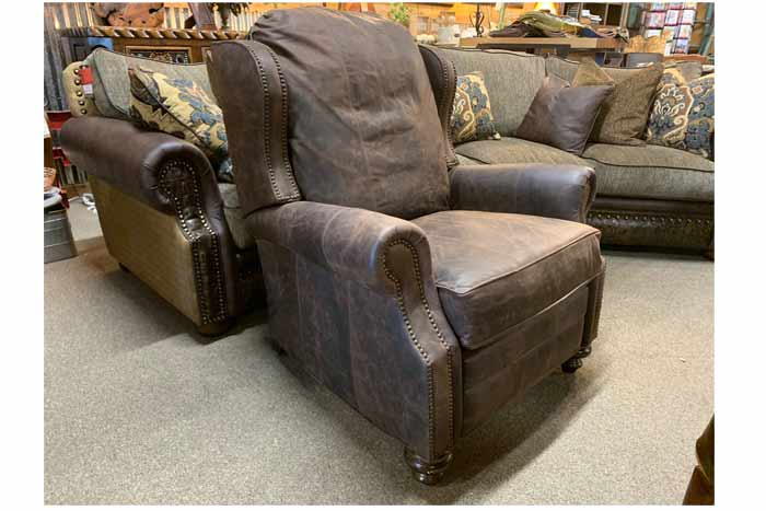 Chisum Distressed Leather Recliner