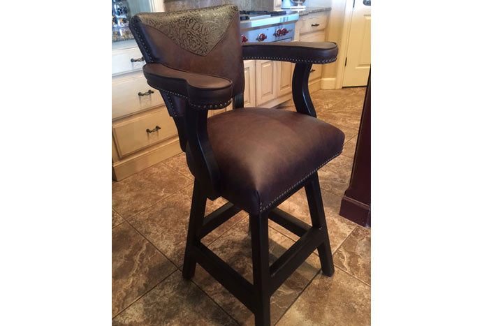 Maribel Bar Chair - Brown With Tooled Leather