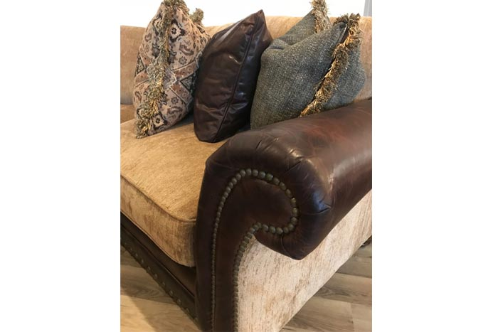 Katarina Fabric and Leather Curved Sectional