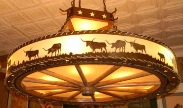 Longhorn Wagon Wheel Chandelier