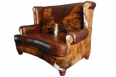 Tight Back Leather and Cowhide Loveseat