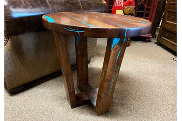 "24"" Modern Rustic Mesquite and Turquoise End Table"