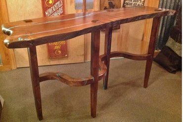 Mesquite Sofa Table w/ Turquoise Inlay