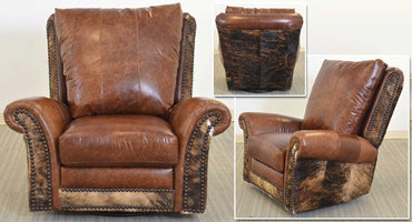 San Angelo Leather Swivel-Glider Recliner