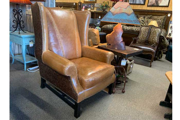 Tooled Leather Wingback Chair