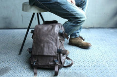 Cool Coffee Mens Leather Backpack Travel Backpacks Laptop Backpack for men