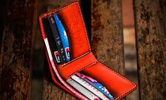 Handmade Leather Tibetan Tooled Mens Short Wallet Cool Leather Wallet Slim Wallet for Men