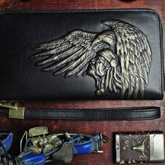 Handmade Leather Mens Tooled Indian Cool Zipper Phone Travel Long Wallet Card Holder Card Slim Clutch Wallets for Men