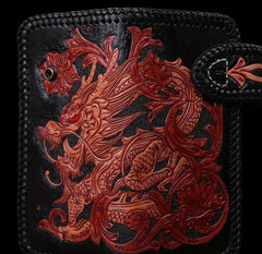 Handmade Mens Cool Tooled Long Chinese Dragon Leather Chain Wallet Biker Trucker Wallet with Chain